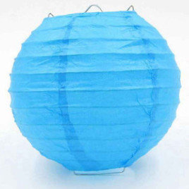 Laterna papīra gaiši zils 25 cm