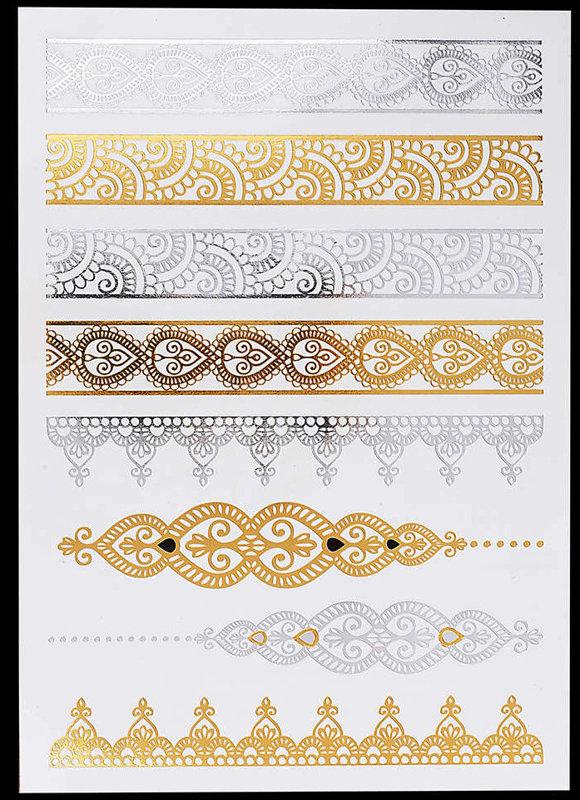 Pagaidu zelta un sudraba metāla tetovējums - uzlīme PT39