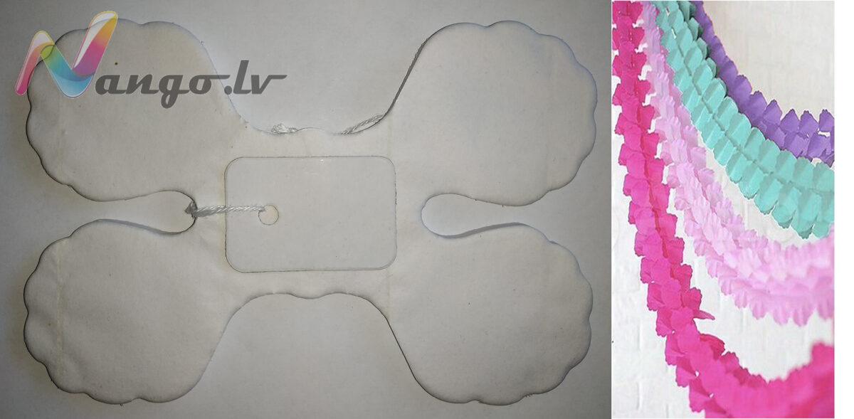 Papīra svētku dekorācija - virtene - balta - 3,65 m