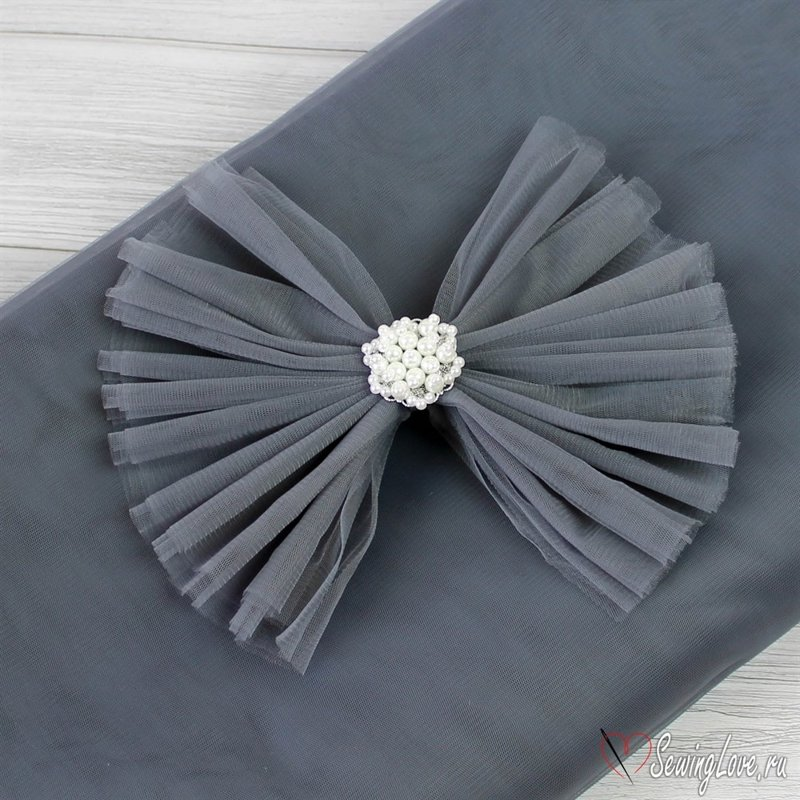 Tulle Roll 22 m x 15 cm gray