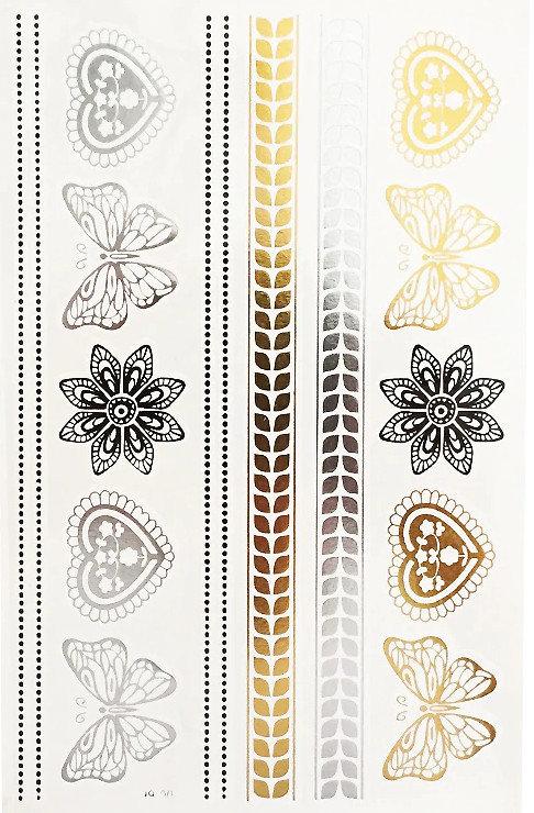 Pagaidu zelta un sudraba metāla tetovējums - uzlīme PT46