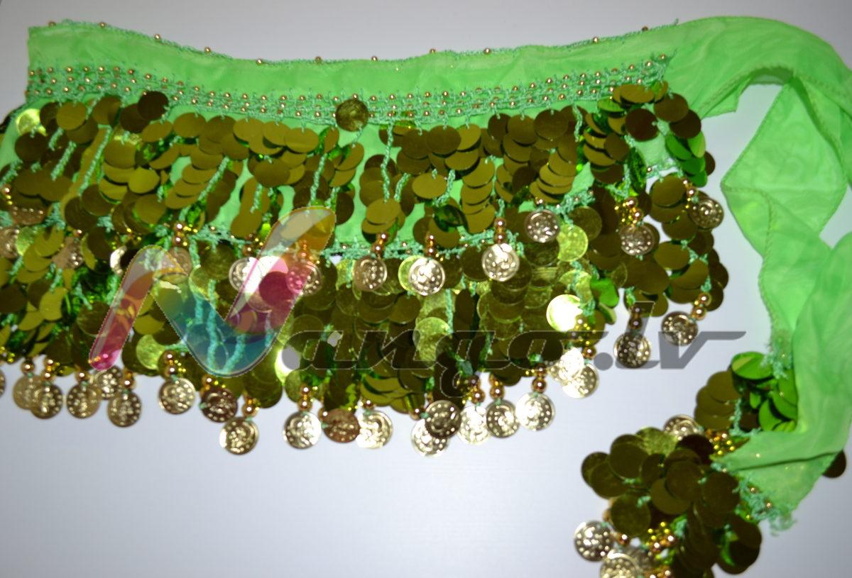 Hip belt for oriental dances, green, 155 x 23 cm