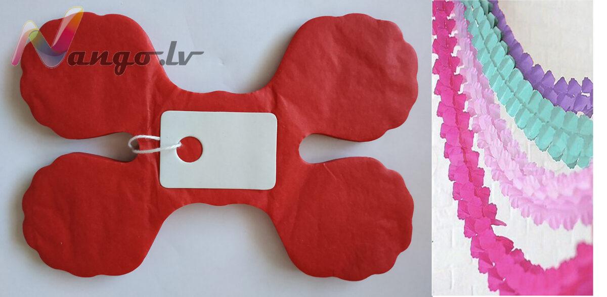 Papīra svētku dekorācija - virtene - sarkana - 3,65 m