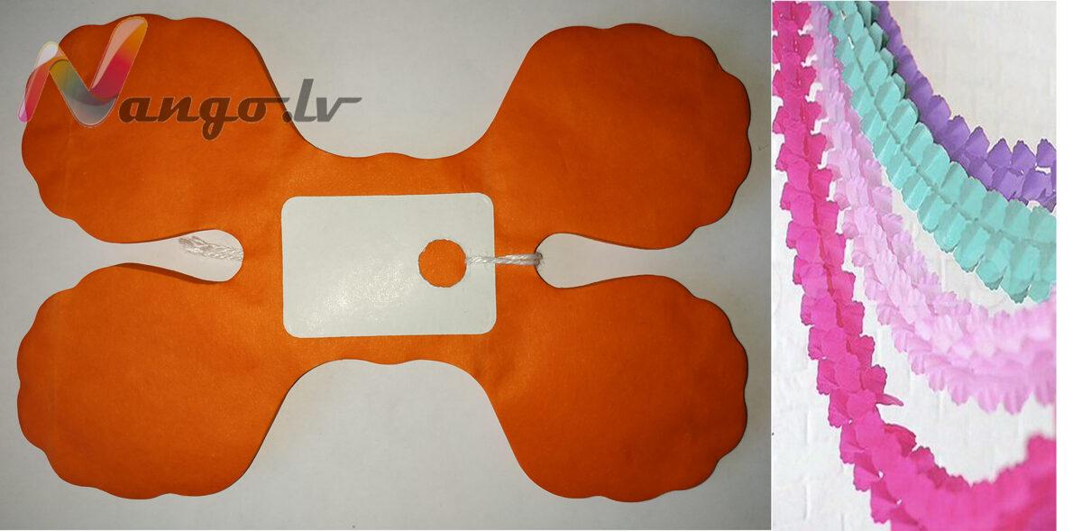 Papīra svētku dekorācija - virtene - spilgti oranža - 3,65 m