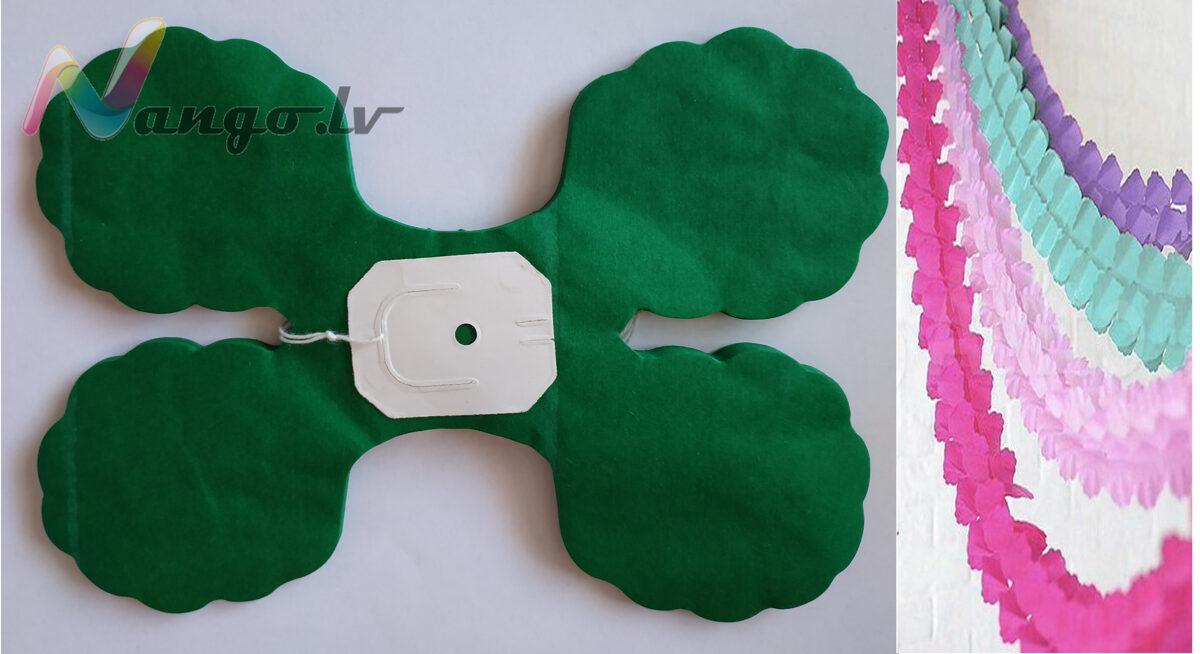 Papīra svētku dekorācija - virtene - tumši zaļa - 3,65 m