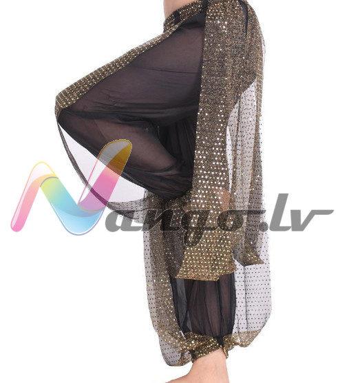 Pants for oriental dances, black + gold