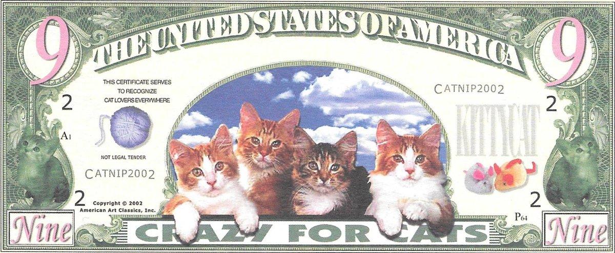 Deviņi dolāri - Crazy For Cats, suvenīra banknote