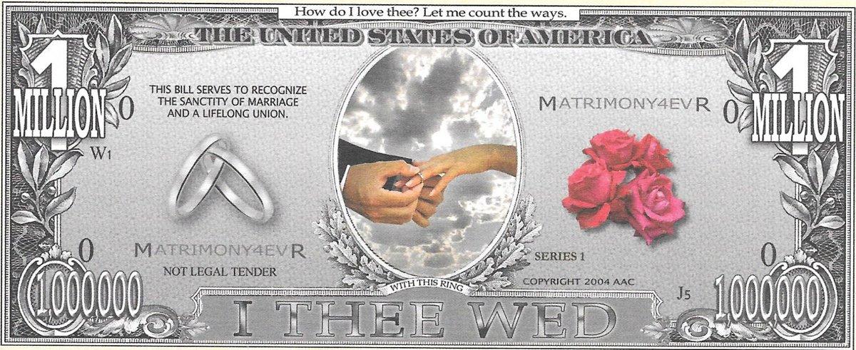 Miljons dolāri - I Thee Wed, suvenīra banknote