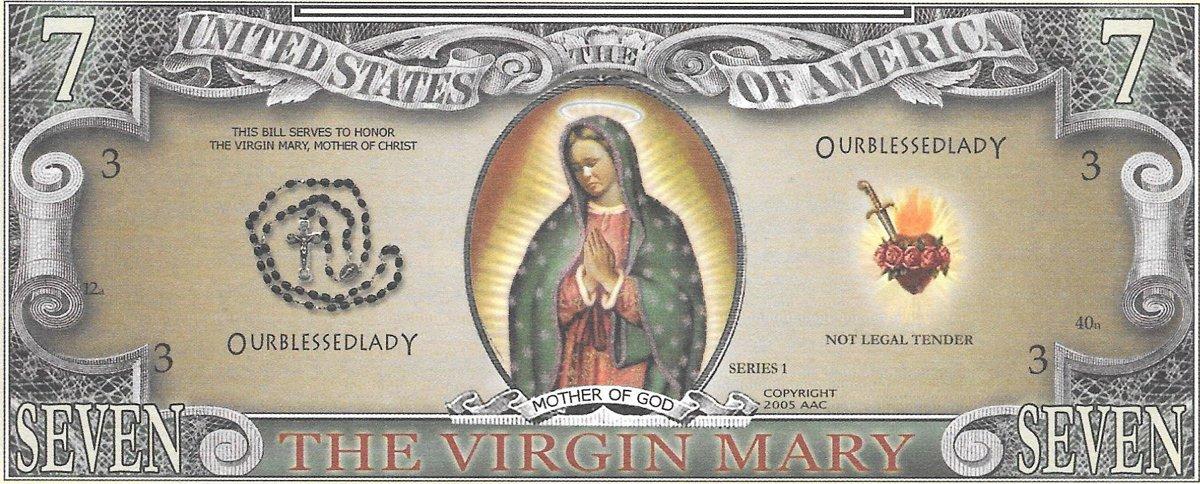 Septiņi dolāri - The Virgin Mary , suvenīra banknote