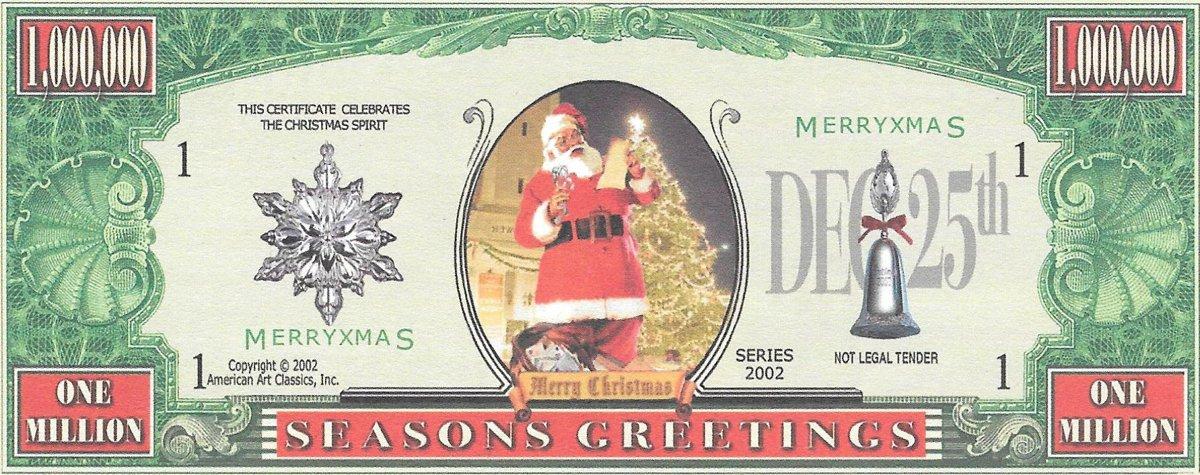 Miljons dolāri - Seasons Greetings, suvenīra banknote