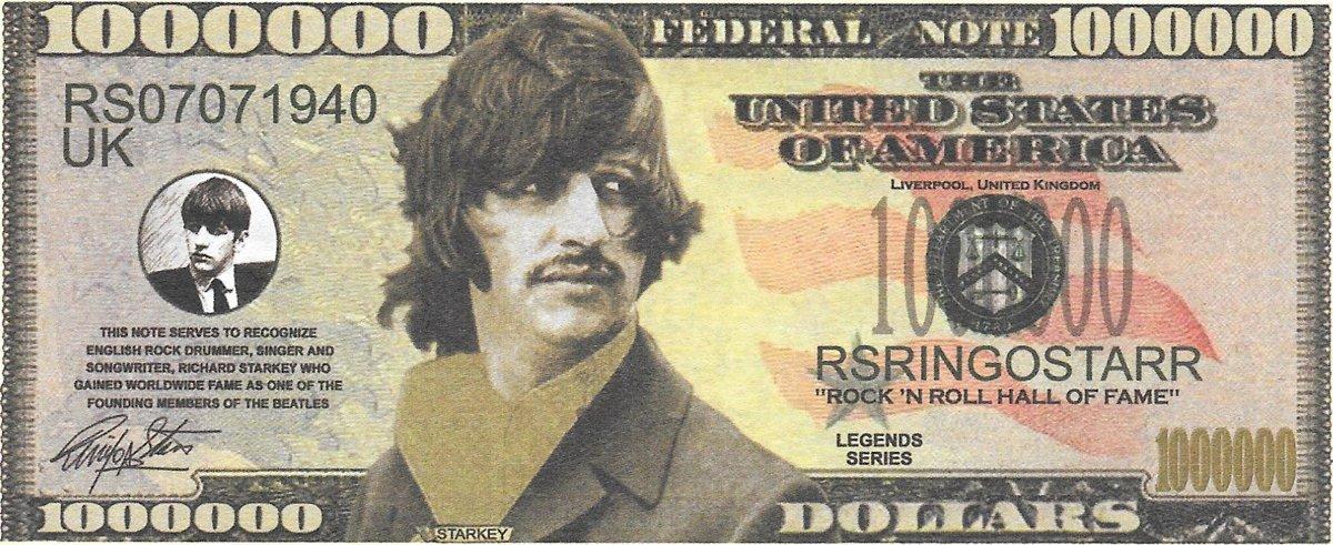 Miljons dolāri - Beatles - Starkey, suvenīra banknote