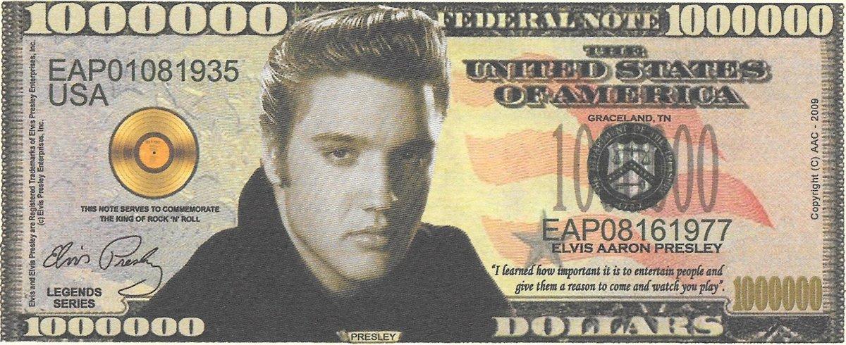 Miljons dolāri - Presley, suvenīra banknote