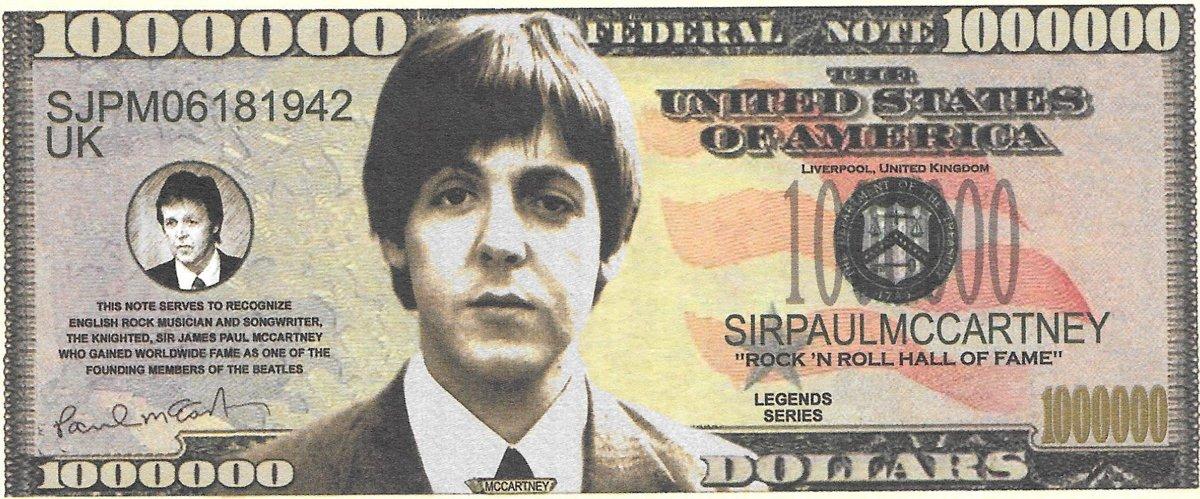 Miljons dolāri - Beatles - Mccartney, suvenīra banknote