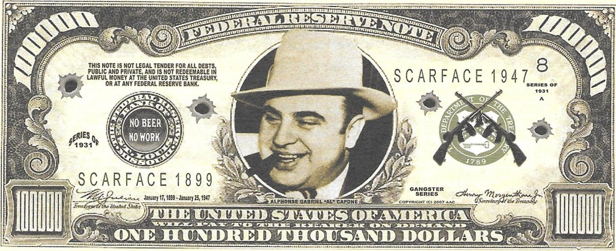 Simts tūkstoši dolāri - Al Capone, suvenīra banknote