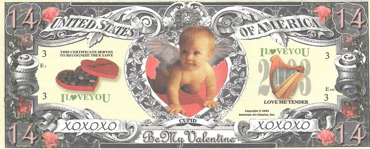 Četrpadsmit dolāri - Be My Valentin , suvenīra banknote