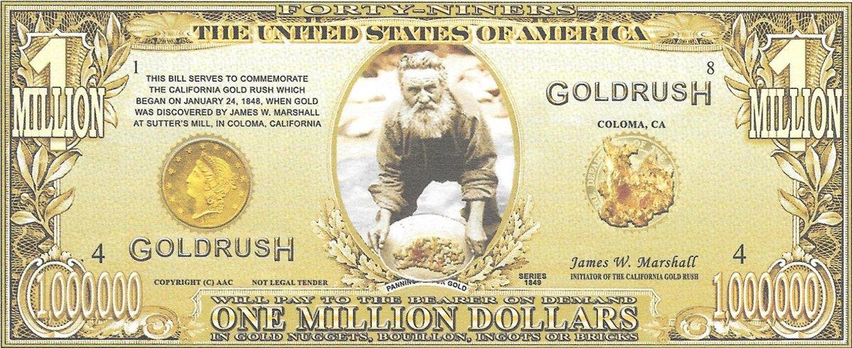 Miljons dolāri  - Zelta drudzis, suvenīra banknote