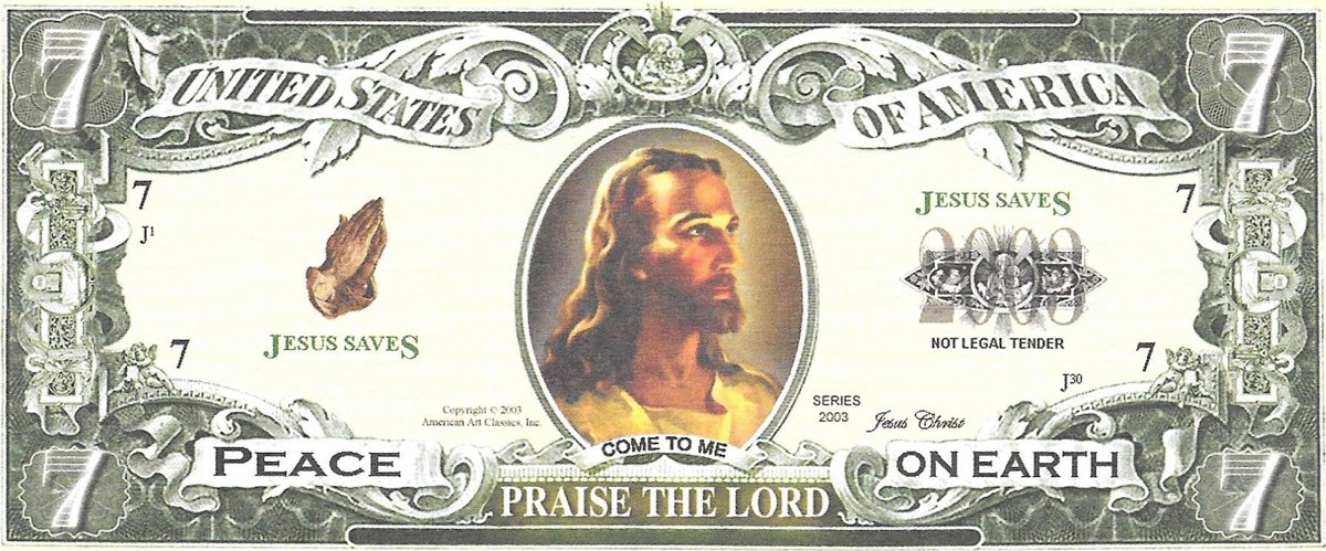 Seven dollars - Praise the Lord, souvenir banknote