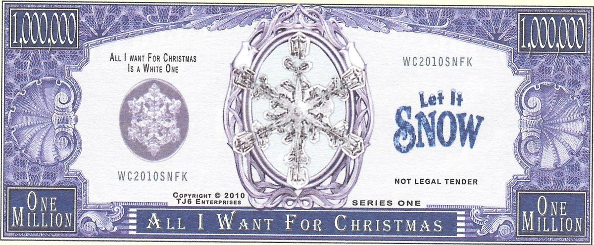 Million Dollars  - All I Want For Christmas, souvenir banknote