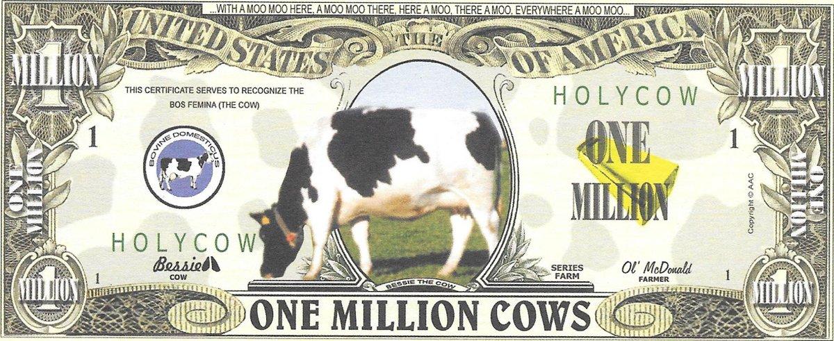 One millions cows, souvenir banknote