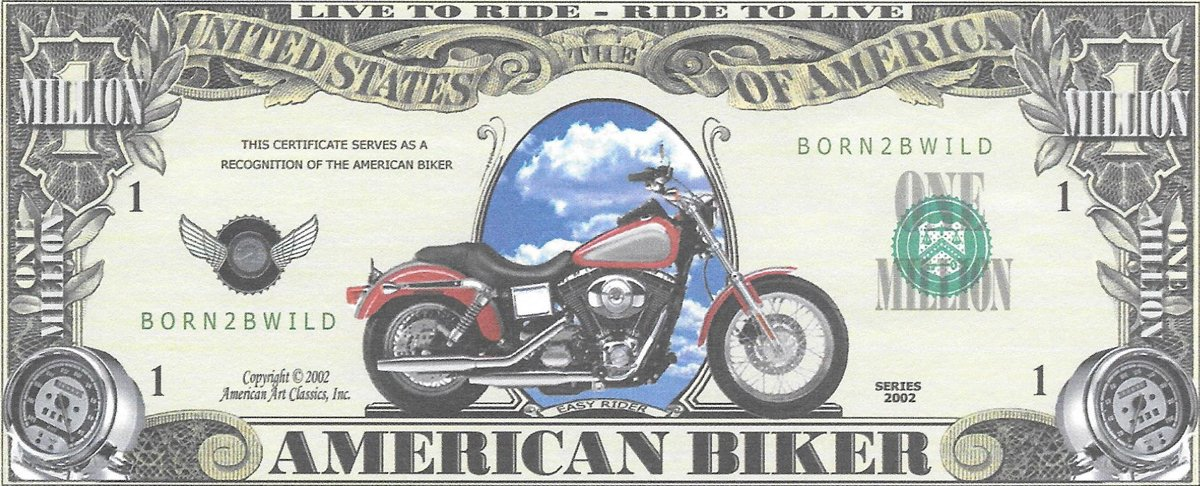 Miljons dolāri - Anerican Biker, suvenīra banknote