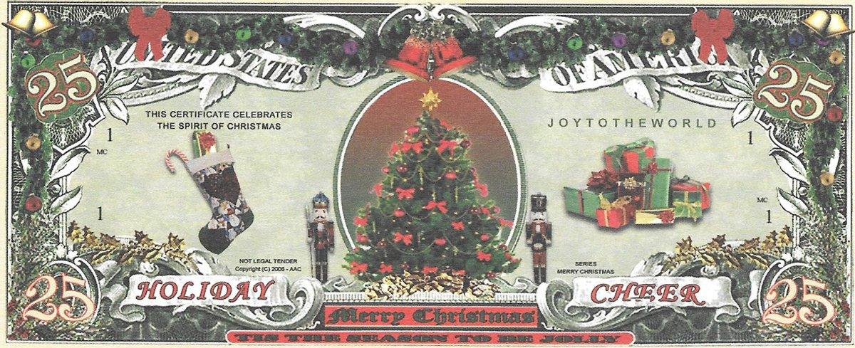 25 dolāri - Ziemassvētku ar egli, suvenīra banknote
