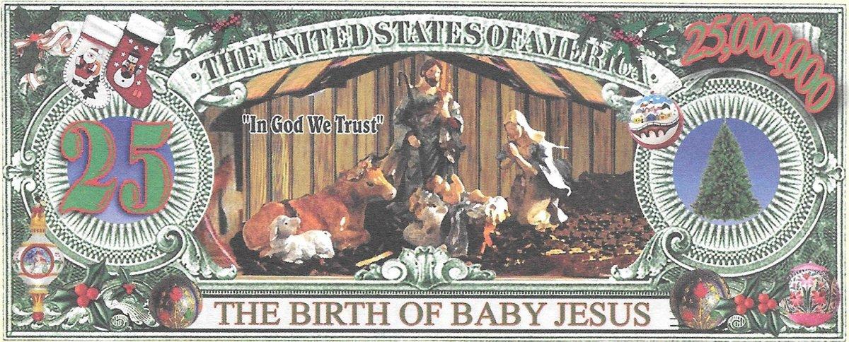 25 miljoni dolāri - Ziemassvētku, suvenīra banknote