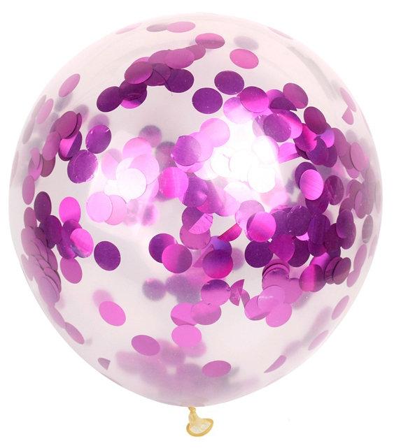 Balloon translucent with pink confetti, 30 cm