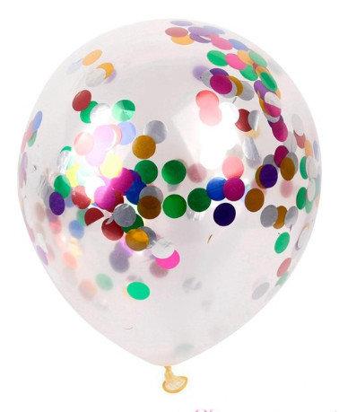 Balons caurspīdīgais ar daudzkāsainiem konfeti 30 cm
