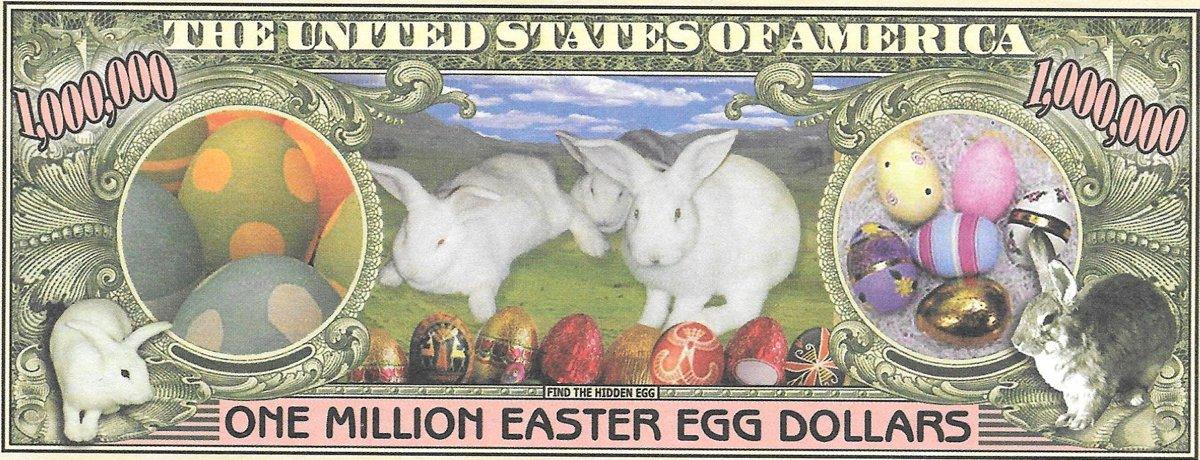 Miljons dolāri - Easter Bunny Money, suvenīra banknote