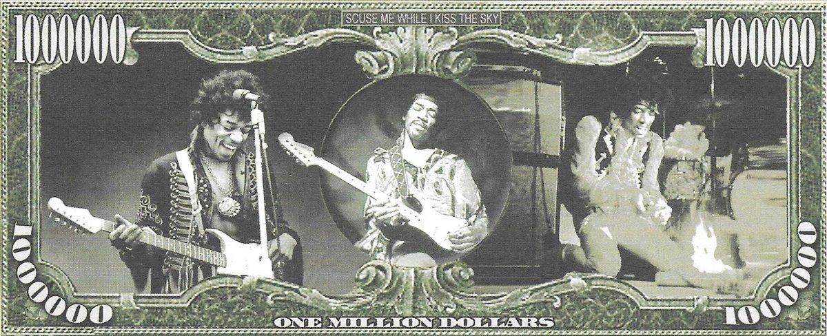 Miljons dolāri - Jimi Hendrix, suvenīra banknote