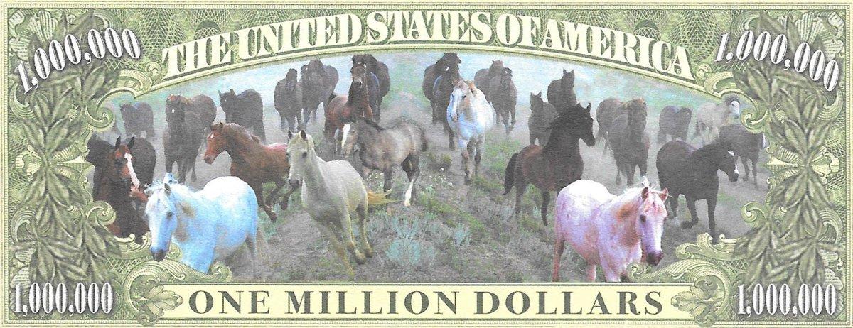 Miljons dolāri - Zirgi, suvenīra banknote