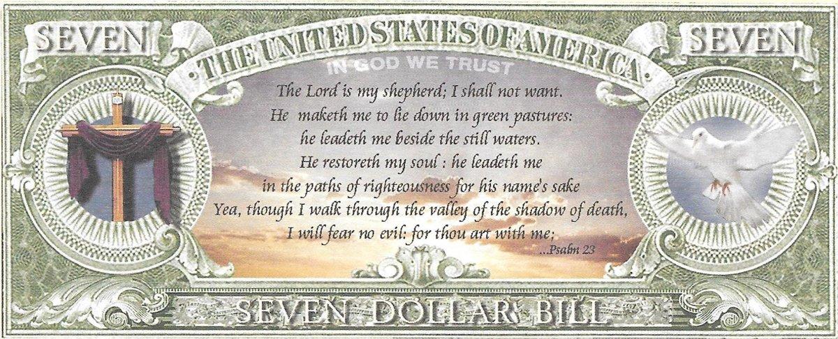Seven dollars - Praise the Lord, souvenir banknote