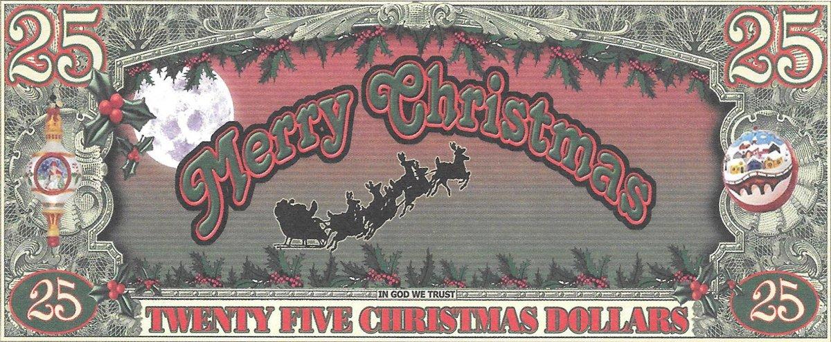 25 dolāri - Ziemassvētku ar salaveci, suvenīra banknote