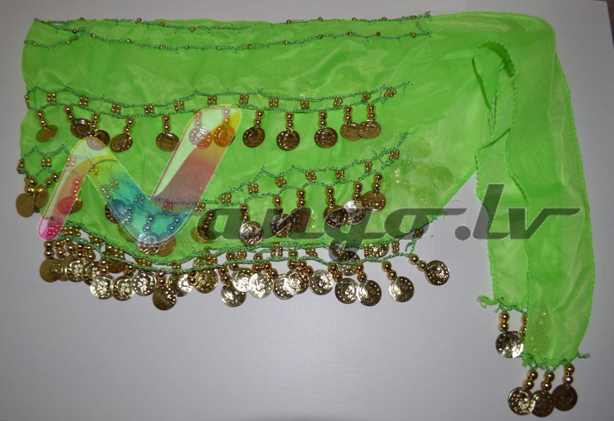 Hip belt for oriental dances, light green - A01