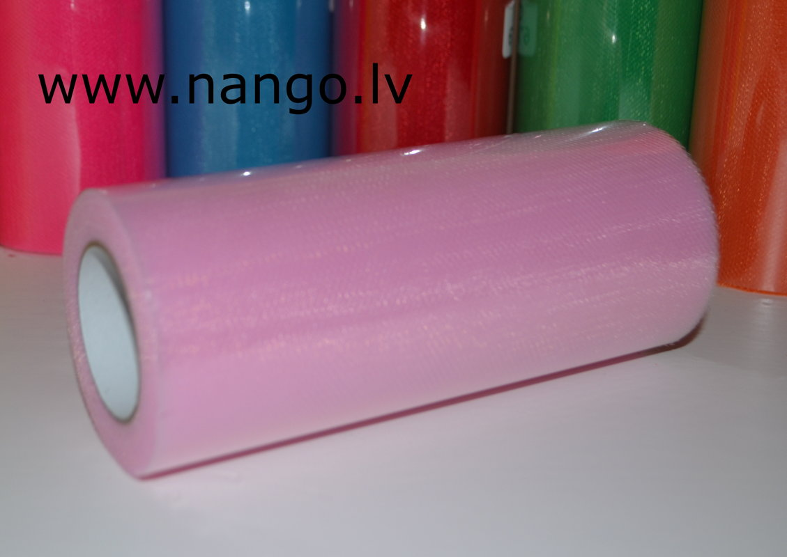 Ribbon from tulle light pink 22 m x 15 cm