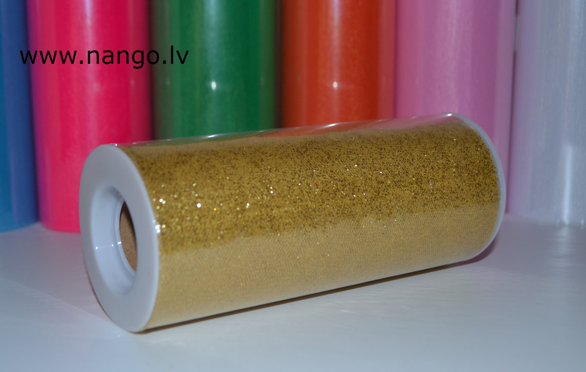 Ribbon from tulle gold color 22 m x 15 cm