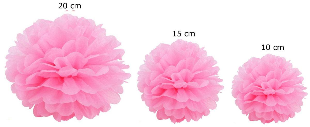 Pomponi papīra ziedi, komplekts 15 gab - gaiši rozā