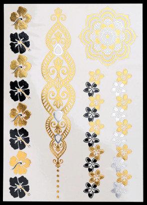 Pagaidu zelta un sudraba metāla tetovējums - uzlīme PT13