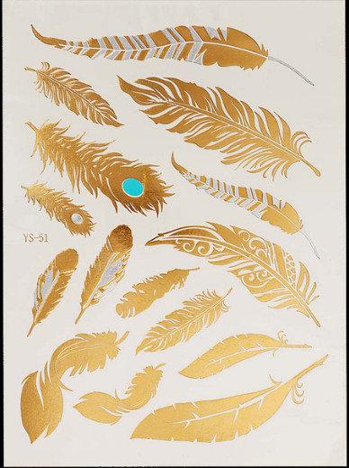 Pagaidu zelta un sudraba metāla tetovējums - uzlīme PT09