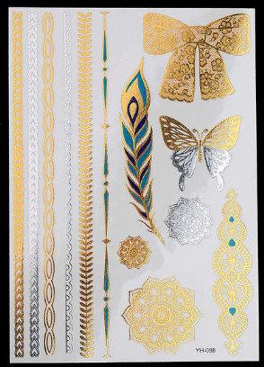 Pagaidu zelta un sudraba metāla tetovējums - uzlīme PT34