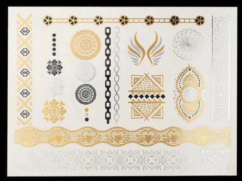 Pagaidu zelta un sudraba metāla tetovējums - uzlīme PT29