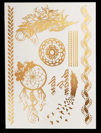 Pagaidu zelta un sudraba metāla tetovējums - uzlīme PT31