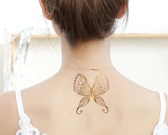 Pagaidu zelta un sudraba metāla tetovējums - uzlīme PT44