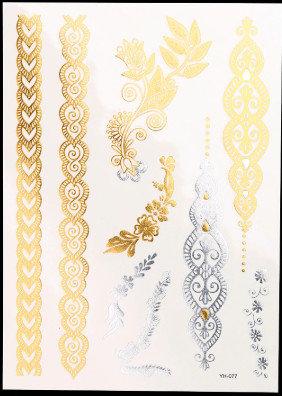 Pagaidu zelta un sudraba metāla tetovējums - uzlīme PT41