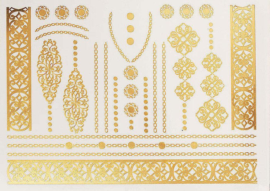 Pagaidu zelta un sudraba metāla tetovējums - uzlīme PT07