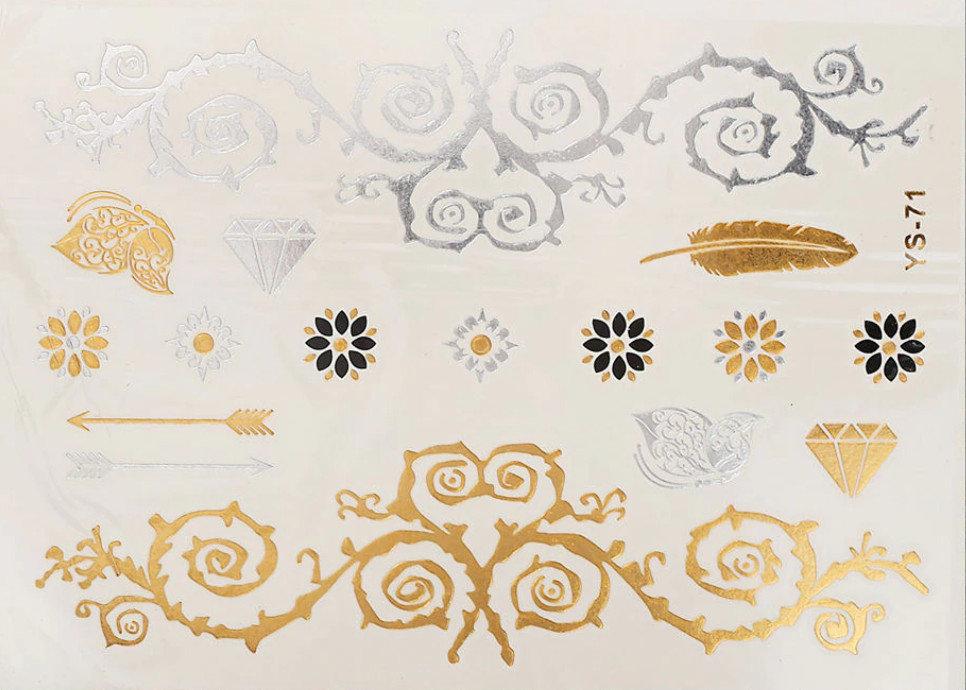 Pagaidu zelta un sudraba metāla tetovējums - uzlīme PT20