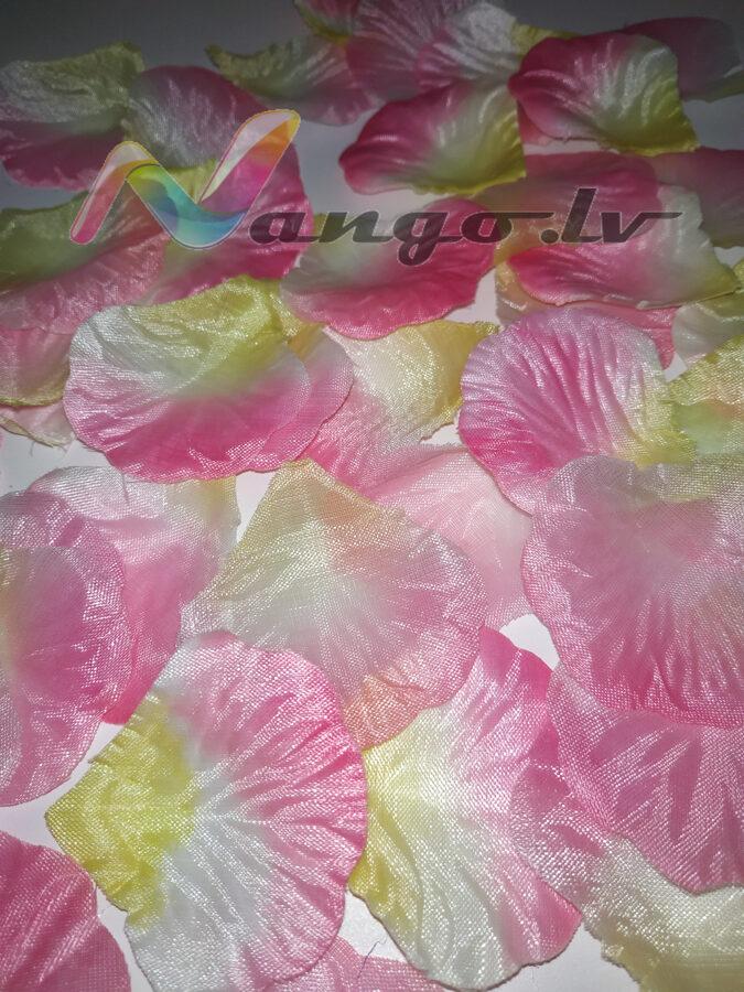 Лепестки роз, розовый + желтый, 100 шт.