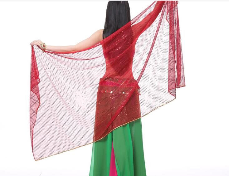 Shawl for oriental dances -  red with glitter - 210 cm x 95 cm