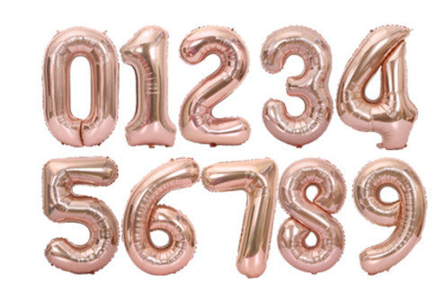 Balons cipars gaiši rozā, 70 cm