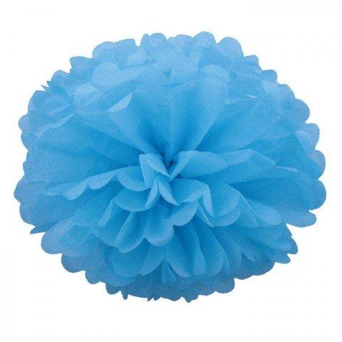 Pompons - zīdpapīra zieds - 15 cm - gaiši zils